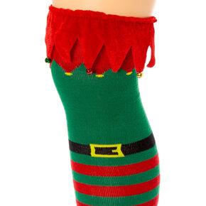 Elf Bells Over The Knee Socks,