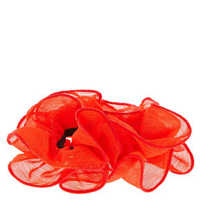 Red Mesh Ruched Hair Scrunchie,