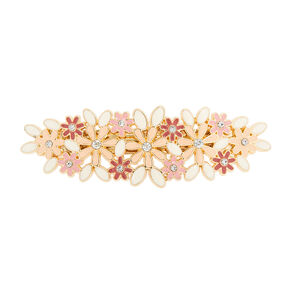 Pink and Ivory Enamel Flowers Hair Clip,