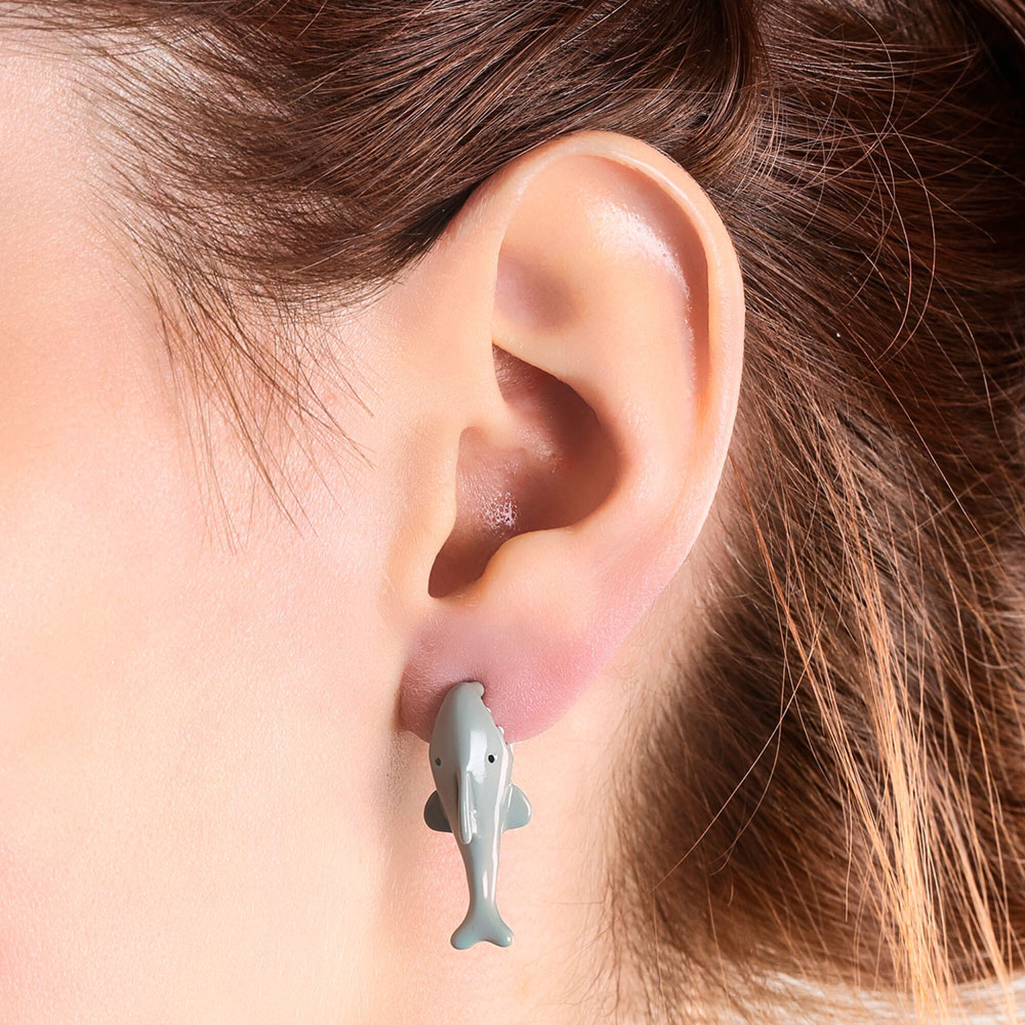 Shark Front And Back Stud Earrings,