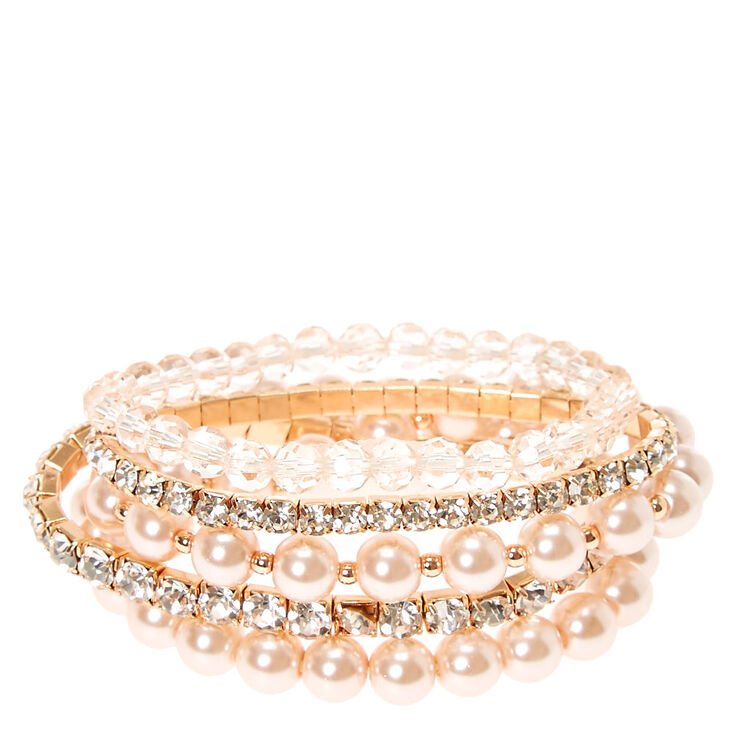 Blush Rhinestone & Pearl Bracelet Set at Icing in Victor, NY | Tuggl