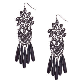 Black Crochet and Beads Drop Earrings.,