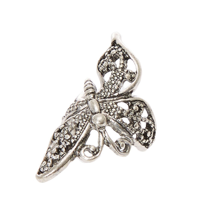 Silver-tone Filigree Butterfly Ear Cuff,