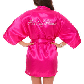 Hot Pink Satin and Crystal Maid of Honor Robe,