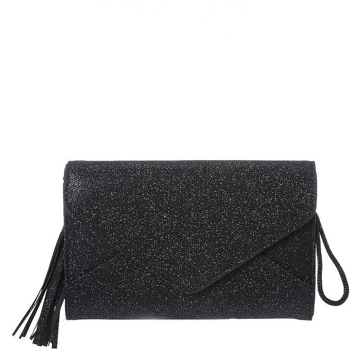 Black Envelope Tassel Clutch,