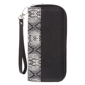 Faux Snake Skin and Black Wristlet,
