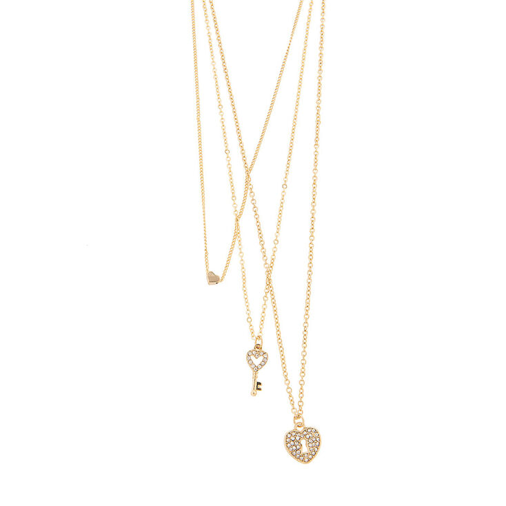 Love Heart Lock and Key 3 Piece Layered Gold Necklaces,