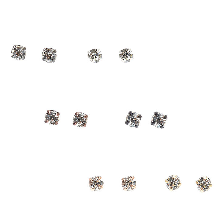 Mixed Metal Round  Faux Crystal Stud Earrings,