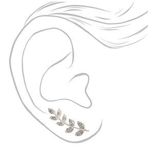 Faux Crystal Leaves Silver-tone Ear Crawler,