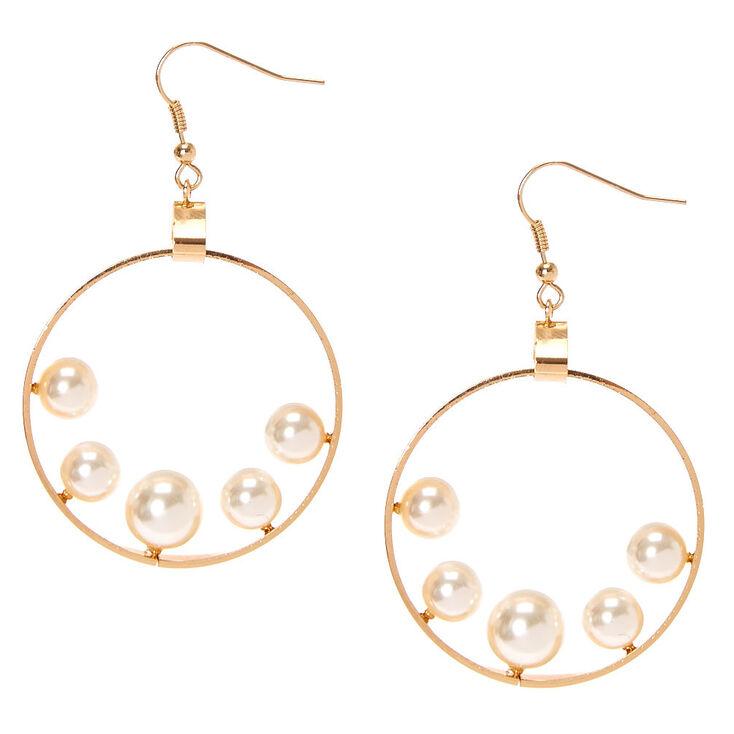 Gold-tone Flat Open Circle Floating Faux Pearls Drop Earrings,
