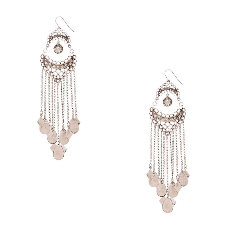 Burnished Silver Medallion with Chain Fringe Drop Earrings,