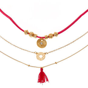 Pink Cord and Gold-tone Chain Choker Necklace,