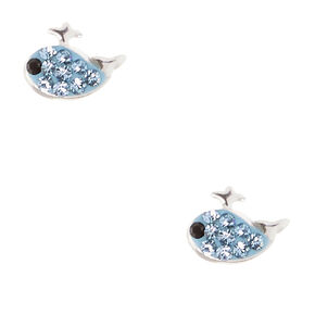 Sterling Silver Crystal Blue Whale Stud Earrings,