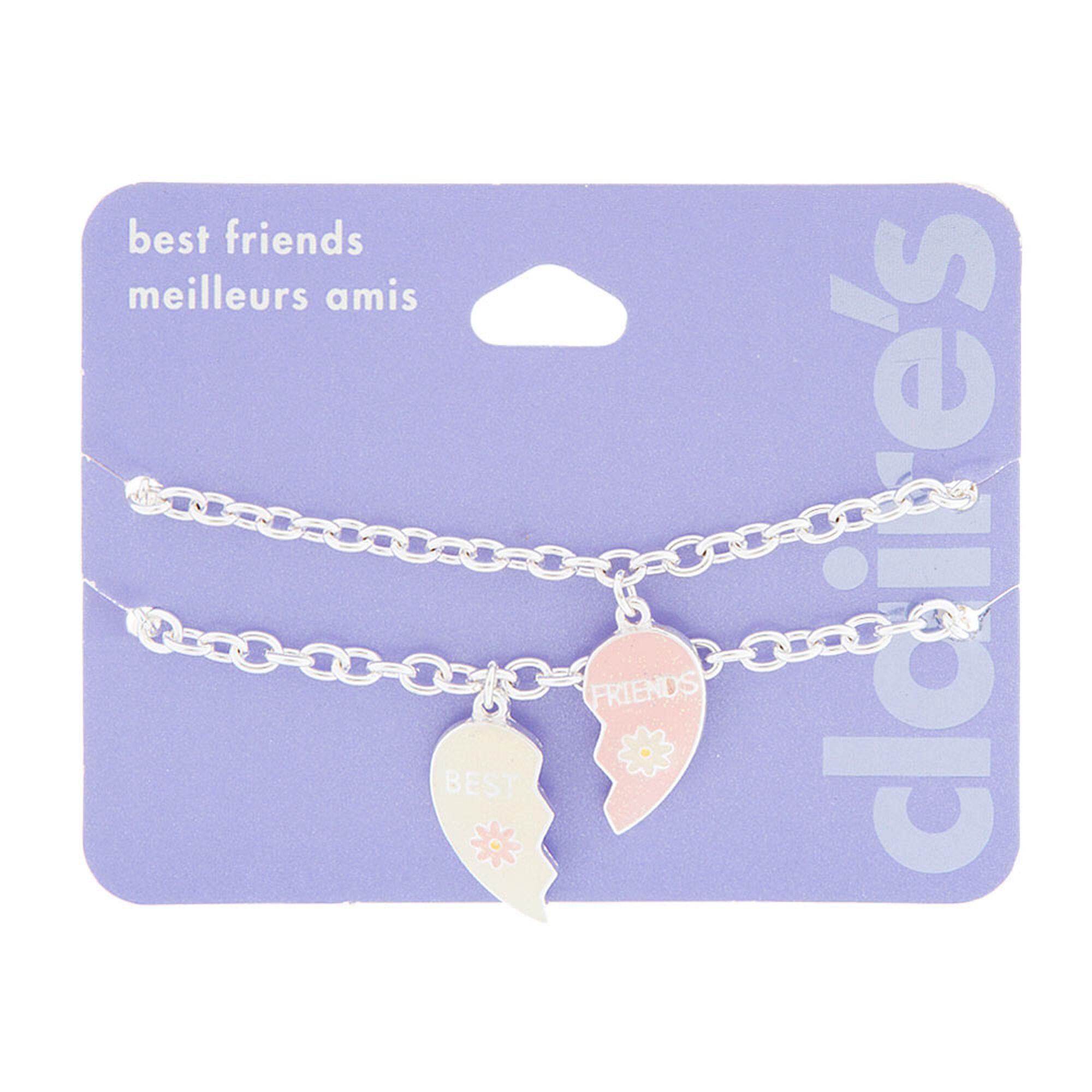 Best Friends Glitter Half Heart Charm Bracelet Set