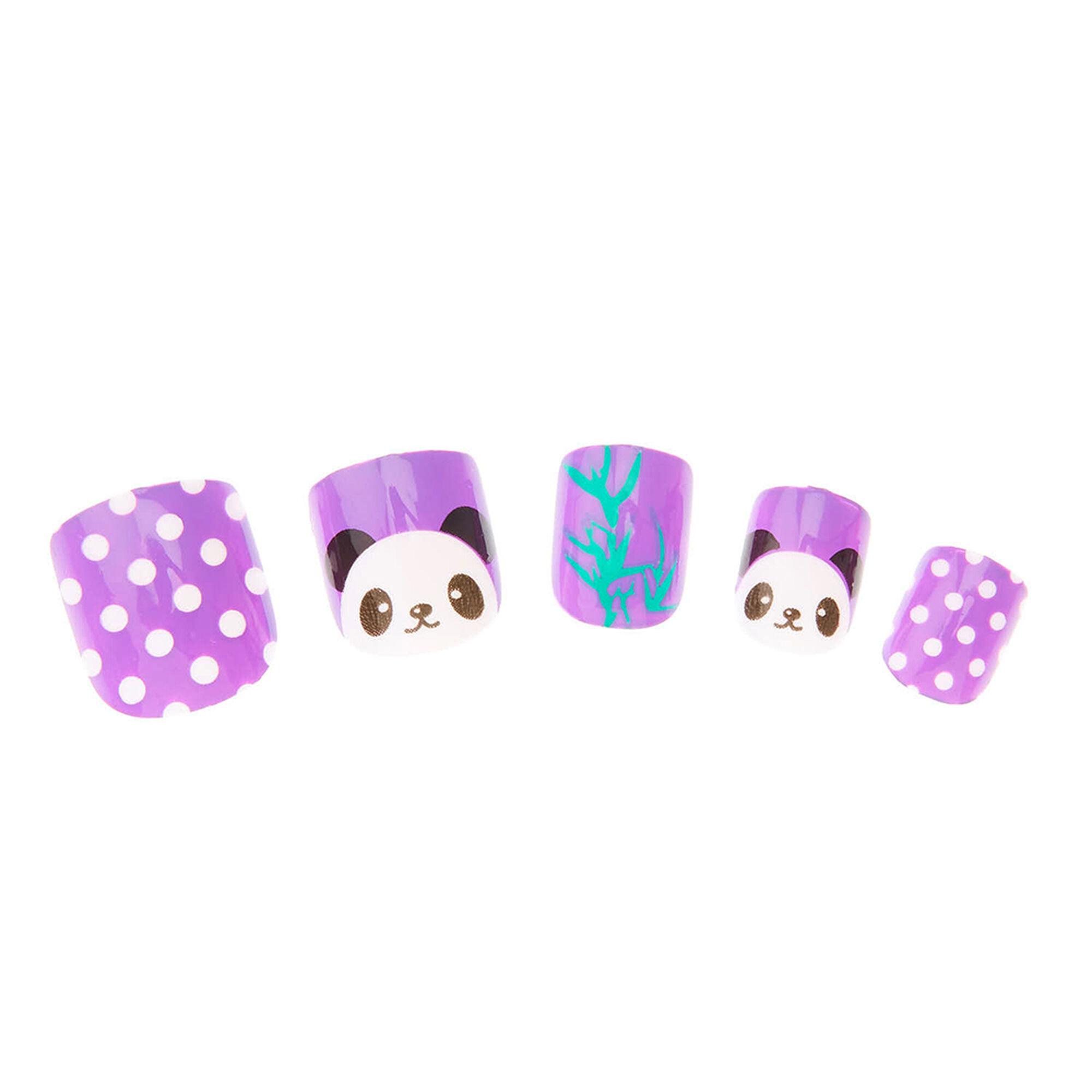 Popular fashion nails uxbridge - 24 Pack Purple Panda Faux Nails