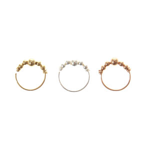 3 Pack Beaded Nose Hoops,