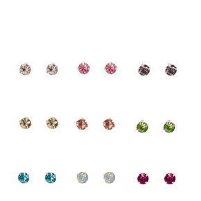 Silver-tone Framed Colored Crystal Stud Earrings,