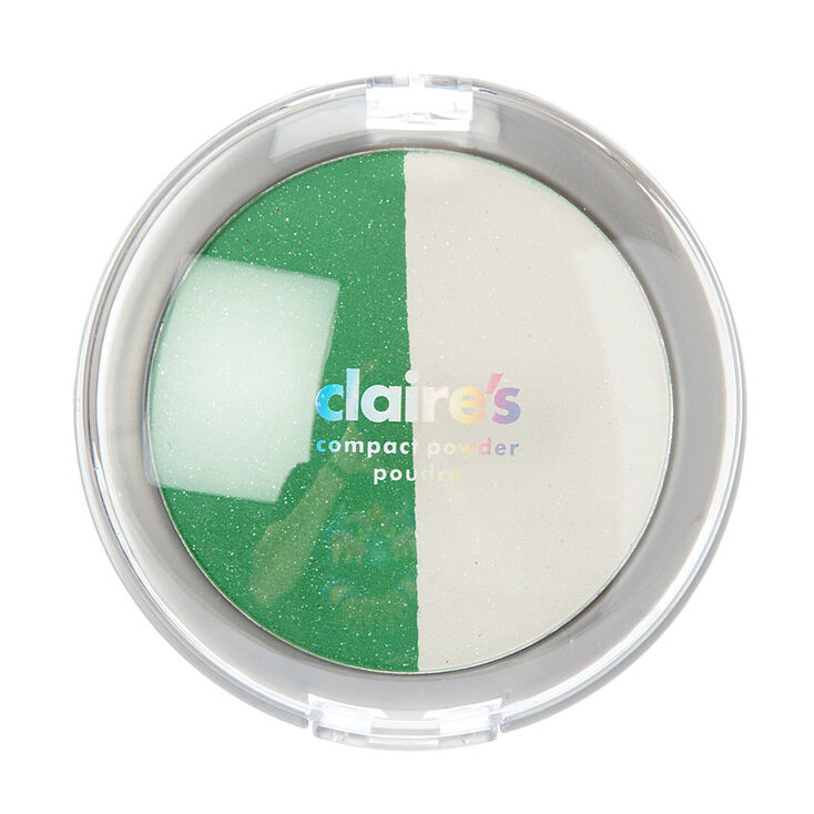 Shimmer Green and White Compact Powder,