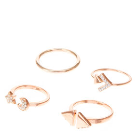Rose Gold Moon & Star Stackable Rings,
