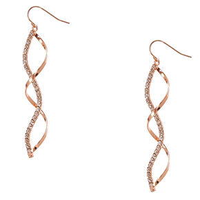 Rose Gold and Crystal Ribbon Curl Drop Earrings,