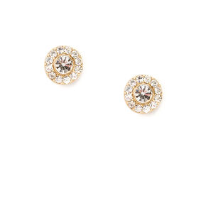 Crystal and Pavé Rhinestone Circles Stud Earrings,