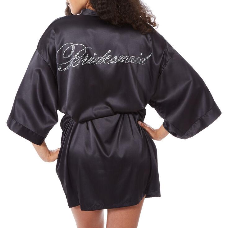 Black Satin and Crystal Bridesmaid Robe,