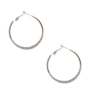 Silver Glitter Knife Edge Hoop Earrings,