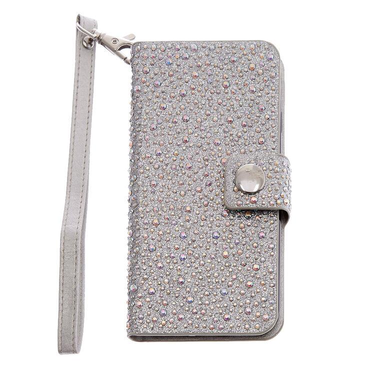 Iridescent Crystal Studded Wristlet Phone Case,