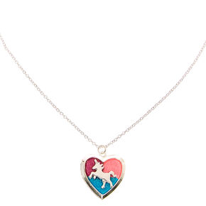 Glitter Unicorn  Heart Locket Silver-tone Necklace,