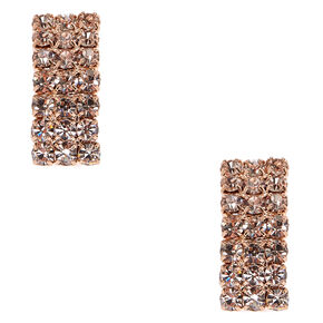 Rose Gold-tone  Pavè Curved Rectangle Clip-on Stud Earrings,