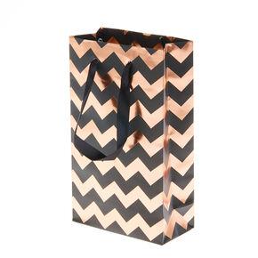 Black & Rose Gold Chevron Small Gift Bag,