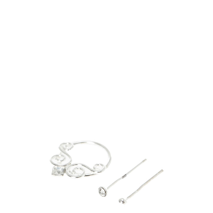 Sterling Silver Nose Hoop and Crystal Studs,