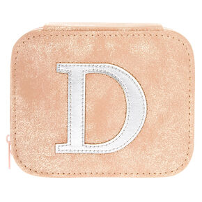 "Blush Pink ""D"" Initial Jewelry Case,"