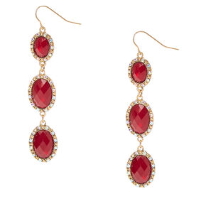 Gold-tone Framed Burgundy Pillowed Oval Beads Linear Drop Earrings,