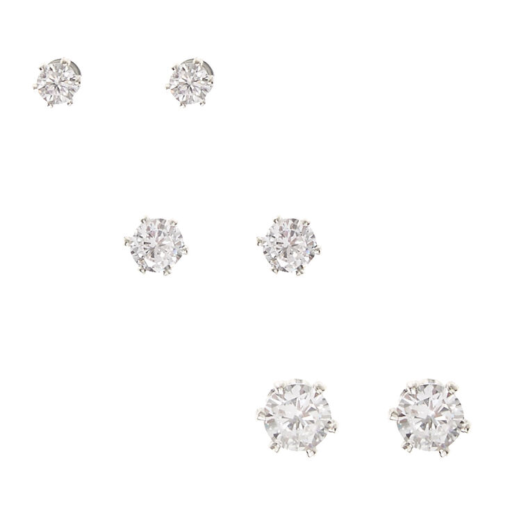 Silver-tone Framed Graduated Cubic Zirconia Magnetic Stud Earrings,