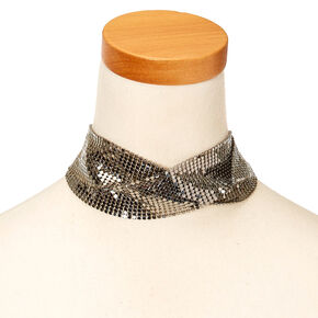 Silver-tone Disco Criss-Cross Choker Necklace,