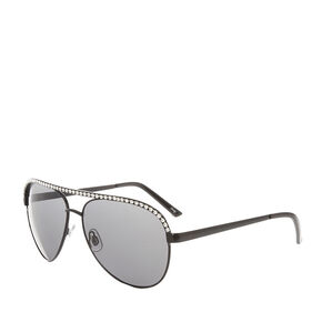 Crystal Black Aviator Sunglasses,