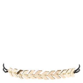 Black Double Stretch Bracelet with Chevron Arrow Charms,