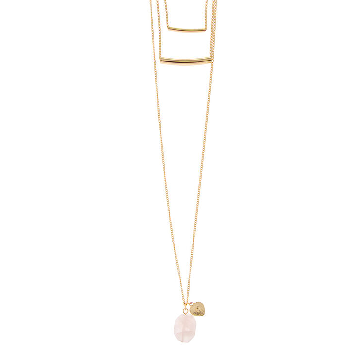 Gold Tube Bars Layered Necklace with Genuine Pink Quartz and Gold Heart Pendant,