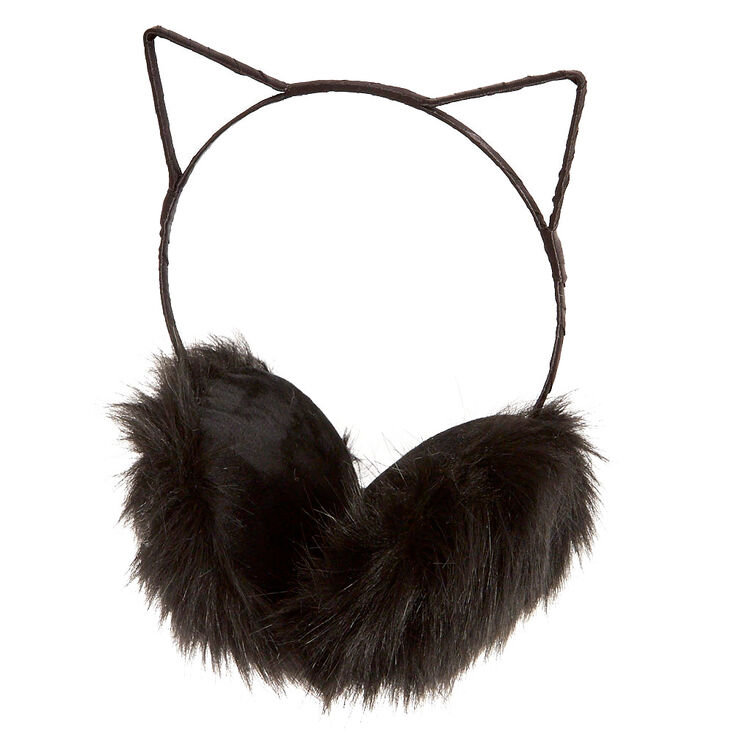 Black Faux Fur Cat Ear Earmuffs,