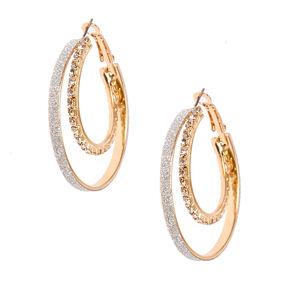 40mm Double Crystal Stone Hoop Earrings,