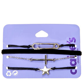 4-Pack Black and Silver-Tone Charm Bracelets,