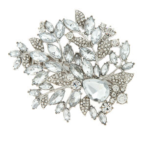 Crystal and Rhinestone Leaves Barrette,