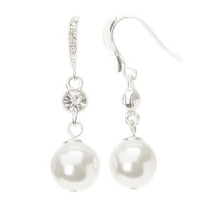 Linear Crystal and Large Pearl Drop Earring Set,