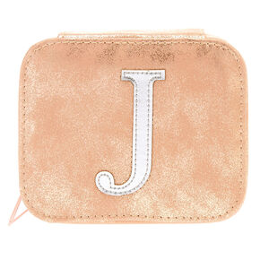 "Blush Pink ""J"" Initial Jewelry Case,"