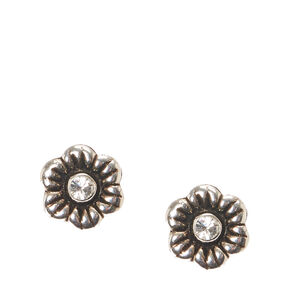 Sterling Silver Cubic Zirconia Crystal Flower Earrings,