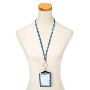 Blue Crystal Keyring ID Holder,