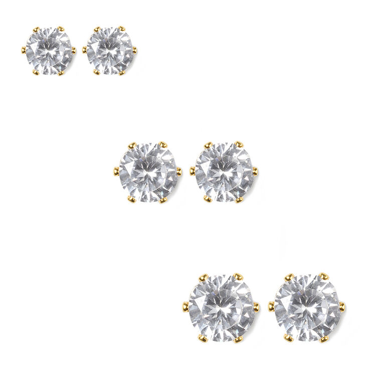 Cubic Zirconia Round Six Prong Set Stud Earrings Set of 3,