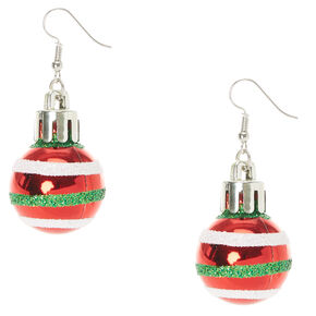 Red Striped Christmas Ornament Drop Earrings,