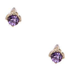 Silver-tone Framed Lavender Faux Crystal Stud Earrings,